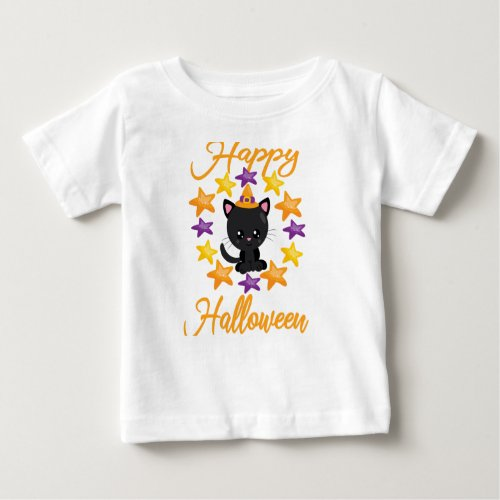 Cute Black Kitty Cat Happy Halloween Party Gift Baby T-Shirt