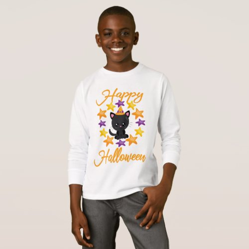 Cute Black Kitty Cat Happy Halloween Party Gift T-Shirt