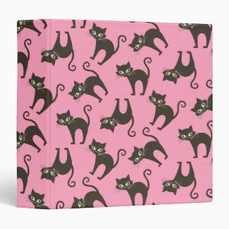 Cute Black Kitty Cat On Pink 3 Ring Binder