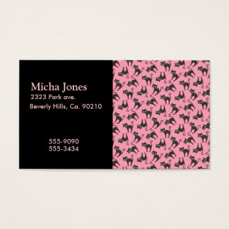 Cute Black Kitty Cat On Pink Business Card