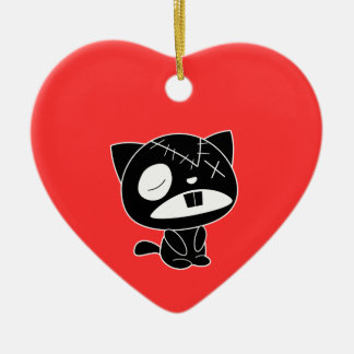 Cute Black Kitty Cat Zombie Double-Sided Heart Ceramic Christmas Ornament