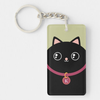 Cute Black Kitty Face Kawaii Custom Name Monogram Keychain