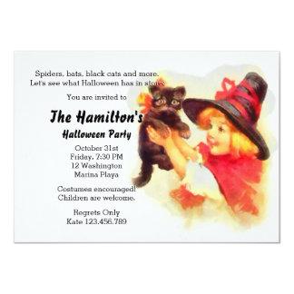 Cute Black Kitty Halloween Party Invitation