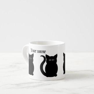 Cute black kitty silhouette espresso cup