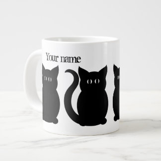 Cute black kitty silhouette giant coffee mug