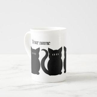 Cute black kitty silhouette tea cup