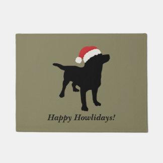Cute Black Lab Dog with Christmas Santa Claus Hat Doormat