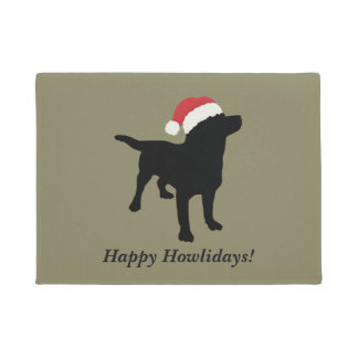 Cute Black Lab Dog With Christmas Santa Claus Hat Doormat