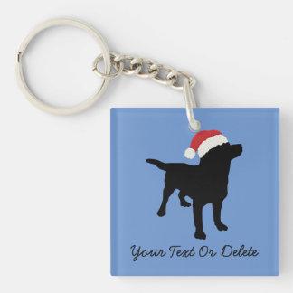 Cute Black Lab Dog with Christmas Santa Claus Hat Keychain