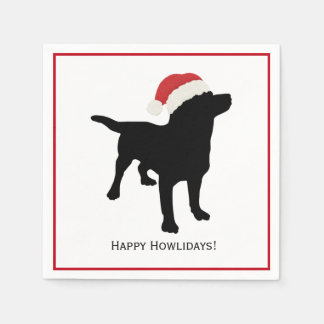 Cute Black Lab Dog with Christmas Santa Claus Hat Napkin