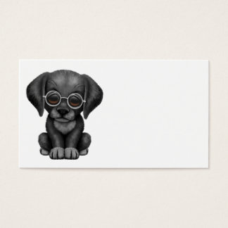 Cute Black Lab Puppy Dog With Reading Glasses Business Card