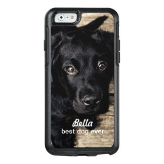 Cute Black Lab Puppy Dog Your Photo and Name OtterBox iPhone 6/6s Case