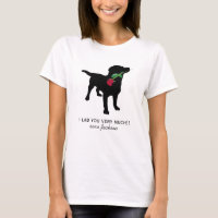 Cute Black Lab Valentine Dog holding Red Rose T-Shirt