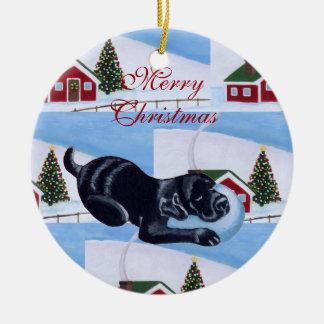 Cute Black Labrador Christmas Painting Ornament