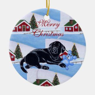Cute Black Labrador Puppy Christmas Christmas Ornament