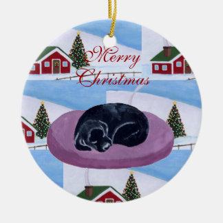 Cute Black Labrador Puppy Christmas Ornaments