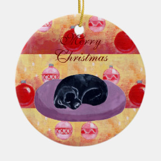 Cute Black Labrador Puppy Christmas Christmas Tree Ornament