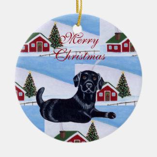 Cute Black Labrador Puppy Christmas Christmas Ornaments