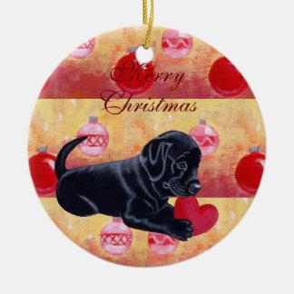 Cute Black Labrador Puppy Christmas Christmas Tree Ornaments
