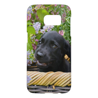 Cute Black Labrador Retriever Dog Puppy Photo // Samsung Galaxy S7 Case