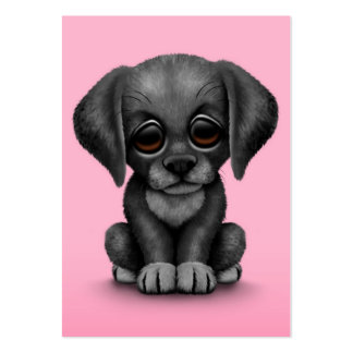 Cute Black Labrador Retriever Puppy Dog, Pink Large Business Cards (Pack Of 100)