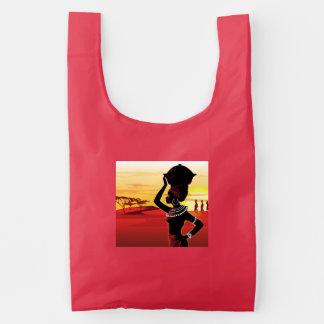 Cute black lady painting on baggu bag