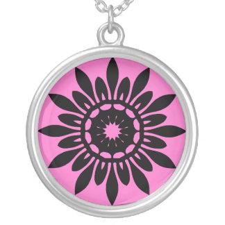 Cute black mandala flower on pink fashion necklace