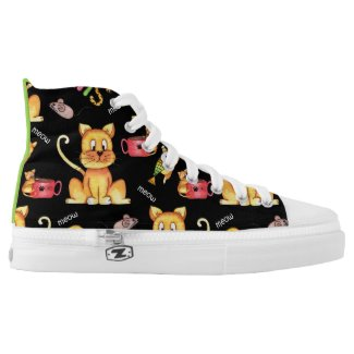 Cute Black Meow Cats Mischievous Kittens High-Top Sneakers