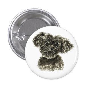 Cute black miniature Schnauzer puppy dog badge Pinback Button