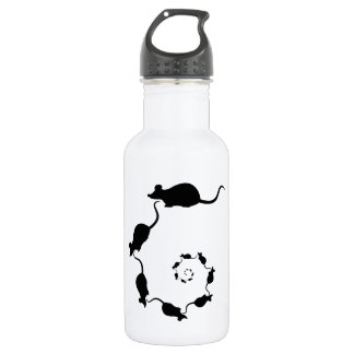 Cute Black Mouse Design. Spiral of Mice. 18oz Water Bottle