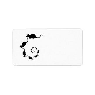 Cute Black Mouse Design. Spiral of Mice. Address Label