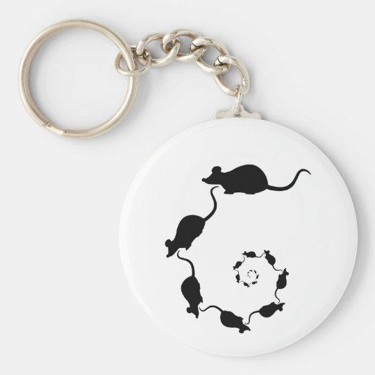 Cute Black Mouse Design. Spiral of Mice. Keychain