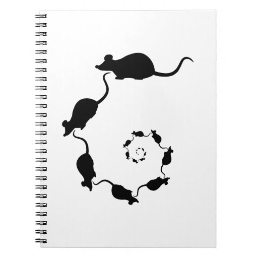 Cute Black Mouse Design. Spiral of Mice. Notebook