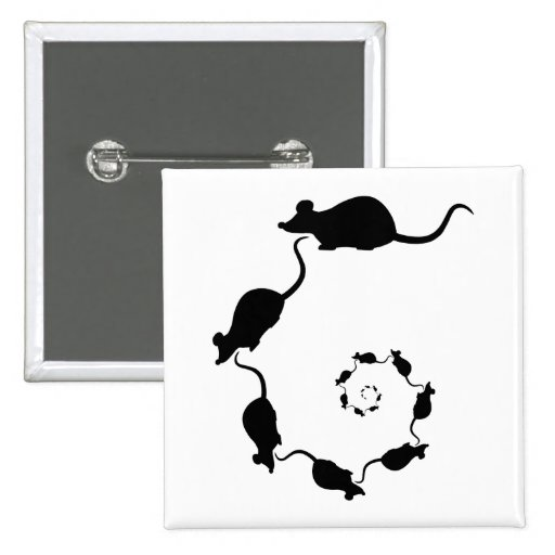 Cute Black Mouse Design. Spiral of Mice. Pin