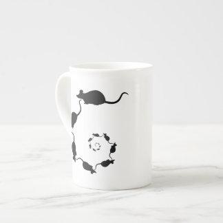Cute Black Mouse Design. Spiral of Mice. Tea Cup
