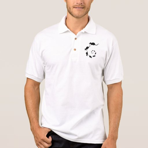 Cute Black Mouse Design. Spiral of Mice. Polo T-shirt