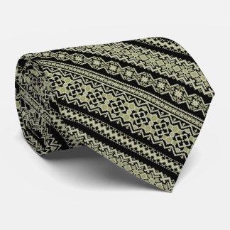 Cute black olive ukrainian ornament background neck tie