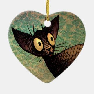 Cute Black Oriental Cat Ceramic Ornament