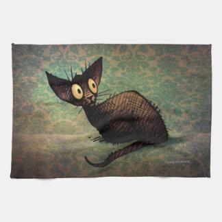 Cute Black Oriental Cat Kitchen Towels