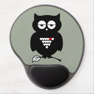 Cute Black Owl Holding Twig Mousepad
