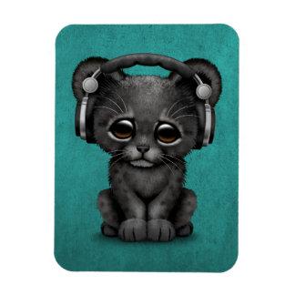 Cute Black Panther Cub Dj Wearing Headphones Blue Magnet