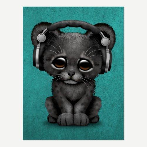 Cute Black Panther Cub Dj Wearing Headphones Blue Postcard