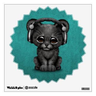 Cute Black Panther Cub Dj Wearing Headphones Blue Wall Decal