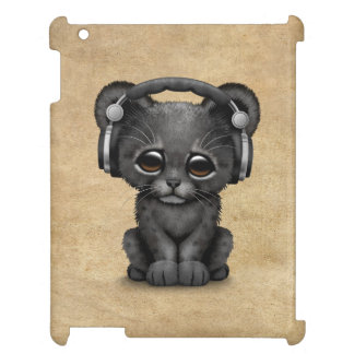 Cute Black Panther Cub Dj Wearing Headphones Cover For The iPad 2 3 4