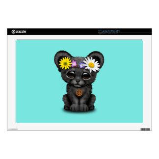 "Cute Black Panther Cub Hippie 17"" Laptop Skin"