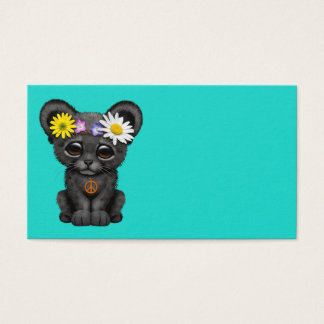Cute Black Panther Cub Hippie Business Card