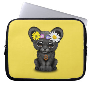 Cute Black Panther Cub Hippie Laptop Sleeve