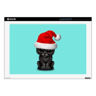 """Cute Black Panther Cub Wearing a Santa Hat 17"""" Laptop Skins"""