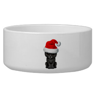 Cute Black Panther Cub Wearing a Santa Hat Bowl