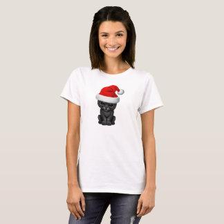 Cute Black Panther Cub Wearing a Santa Hat T-Shirt